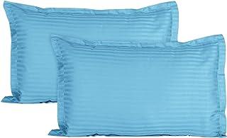 "KOOJI 210 TC Luxurious Striped 2 Piece Sateen Pillow Cover Set - 18""x 27"" (Sky Blue)"