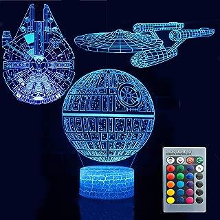 3D Illusion Star Wars Night Light Three Pattern Death Star/Millennium Falcon/Starships Interstellar 7 Color Change Decor Lamp Desk Table Night Light Lamp for Kids Children Holiday Gift