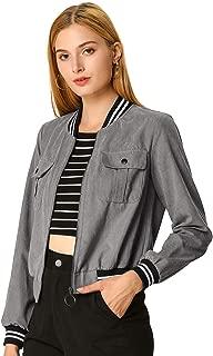 Allegra K Women's Stand Collar Zip Up Flap Pocket Bomber Jacket