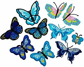10 Piece Embroidery Iron On Appliques Blue Butterfly Motifs Craft Sewing Embroidery Patches