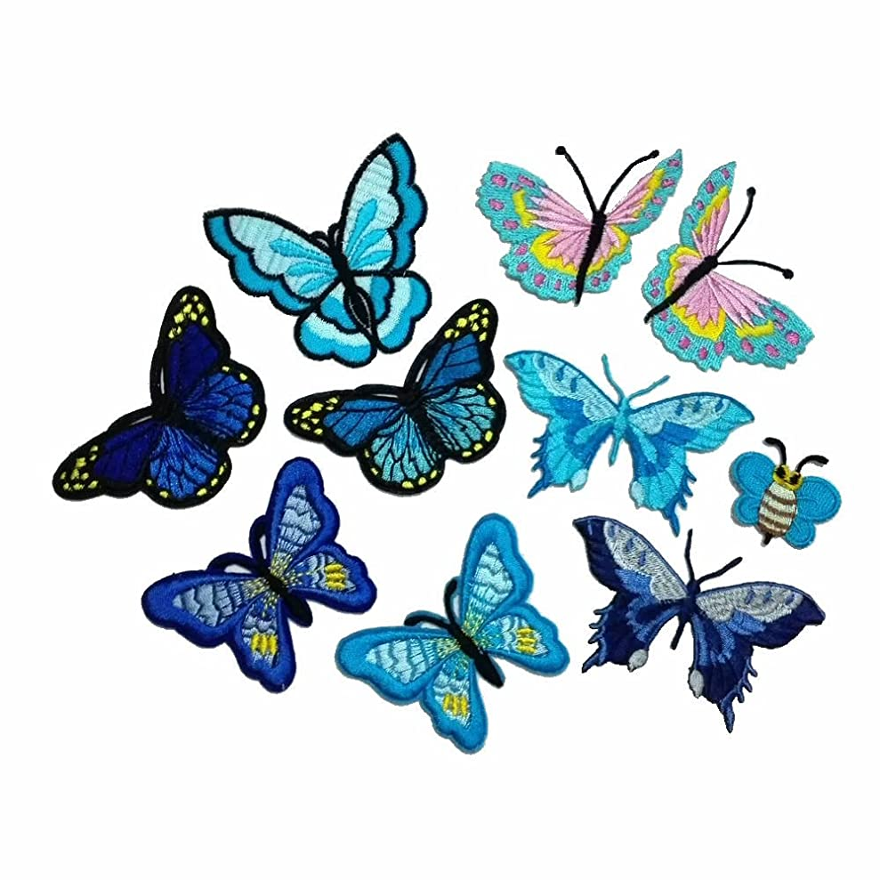 10 Piece Embroidery Iron On Appliques Blue Butterfly Motifs Craft Sewing Embroidery Patches yaltxxefz1308