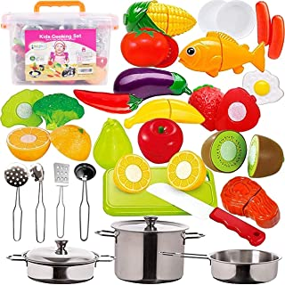 FUNERICA 45-Piece Cut Play Food & Kitchen Toys with Pretend Stainless Steel Pots & Pans, Cooking Utensils, Knife & Cutting...