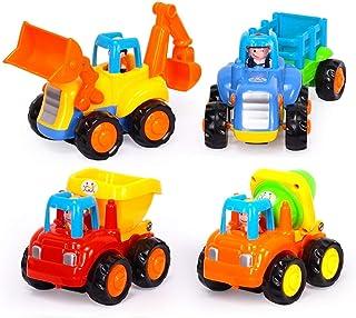 Joycare Kids Engineering Vehicles Push and Go Friction Powered Car Toys Set (Pack of 4)