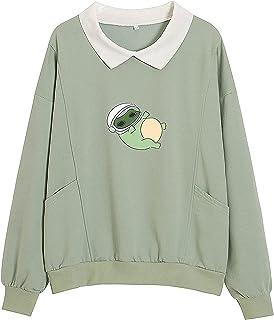 Wave166 Toppar damer ledig långärmad skjorta skjorta groda tryck skjortor med fickor lapptäcke långärmad kavajslag tröja ...