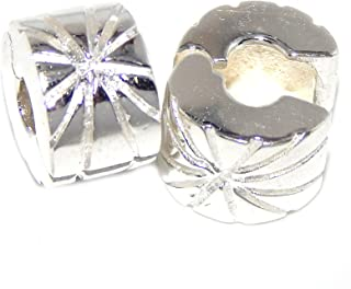 GemStorm Silver Plated Set of 2 'Star Clip Lock' Safety Bead For European Snake Chain Bracelet