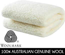 Dreamaker Bedding WOOLMARK Range Australian Made Wool Fleece Underlay Blanket | 300 GSM Luxury Mattress Topper with Fitted Skirt 45 cm | Hotel Grade Hypo Allergenic and Washable Bed Cover (Double)