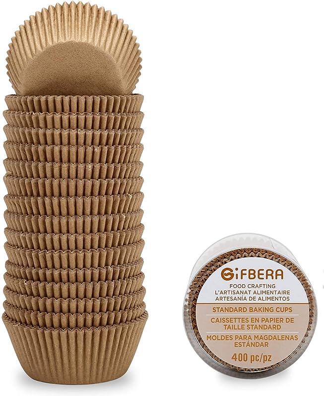 Gifbera Natural Standard Cupcake Liners Odorless Paper Baking Cups 400 Count