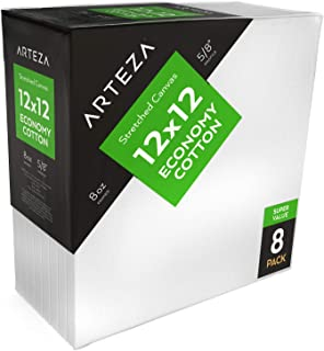 """Arteza 12x12"""" Stretched White Blank Canvas, Bulk Pack of 8, Primed, 100% Cotton for Painting, Acrylic Pouring, Oil Paint & Wet Art Media, Canvases for Professional Artist, Hobby Painters & Beginner"""