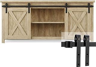 EaseLife 5 FT Cabinet Mini Double Door Sliding Barn Door Hardware Track Kit,Easy..