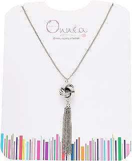 Onnea Long Silver Tassel Lovely Knot Pendant Necklace Gift Packing for Women