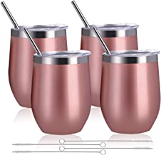 Zonegrace 4 pack Rose Gold 12 oz Stainless Steel Stemless Wine Glass Tumbler Double Wall Vacuum Insulated Wine Tumbler with Lids Set of 4 for Coffee, Wine, Cocktails, Ice Cream Including 4 Straws