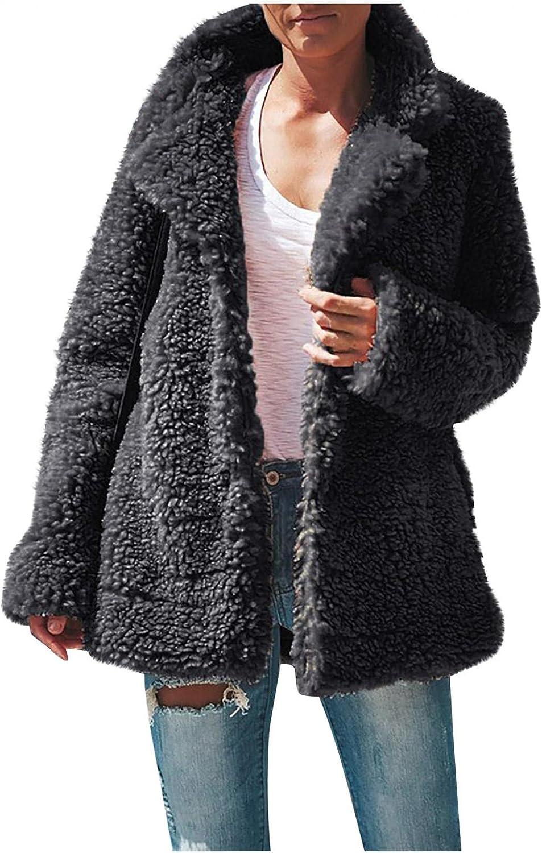 Winter Coats for Women Long Sleeve Fleece Jacket Pure Color Outwear Sherpa Pullover Lightweight Cardigan