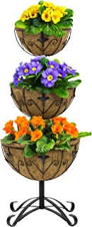 Sorbus Three-Tier Planter Basket Stand with Coco Liners, Decorative Raised Planter for Flowers, Plants, Floral Displays, Seasonal Décor, Stylish for Home, Garden, Patio, Deck, Black Metal