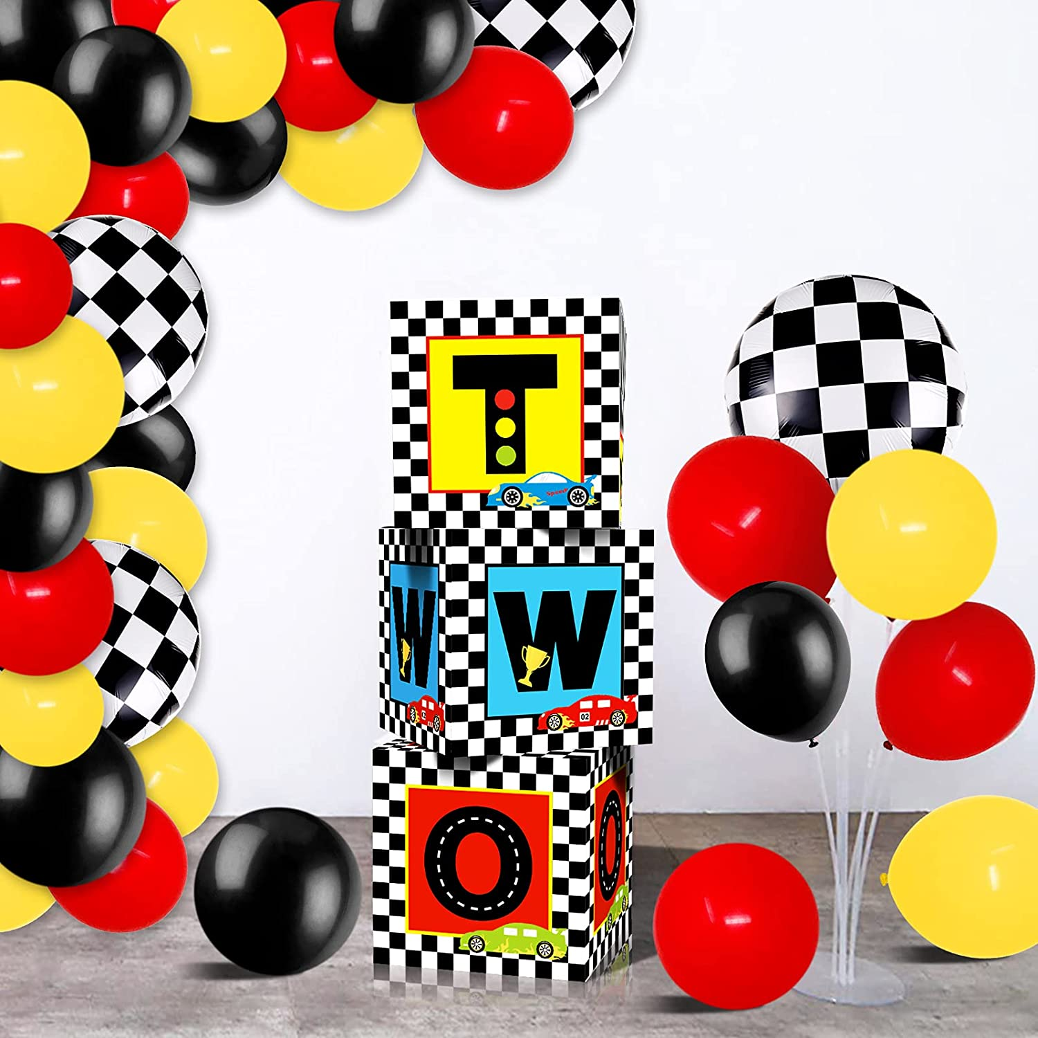 Race Car Birthday Balloon Boxes Decorations Including Racing Party Boxes Block, Red Yellow Black Latex Balloons for Two Fast 2nd Birthday Party Supplies Checkered Flags Backdrop Favor