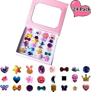 SWARKOL 24pcs Children Kids Little Girl Adjustable Jewelry Rings in Box, Girl Pretend Play and Dress Up Rings, Little Girls Gift