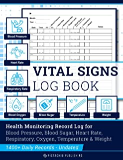 Vital Signs Log Book: Complete Health Monitoring Record Log for Blood Pressure, Blood Sugar, Heart Pulse Rate, Respiratory/Breathing Rate, Oxygen Level, Temperature & Weight
