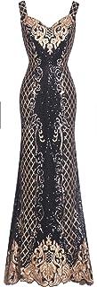 Fazadess Women's Fashion Sparkling Sequin Golden Partten Banquet Dress
