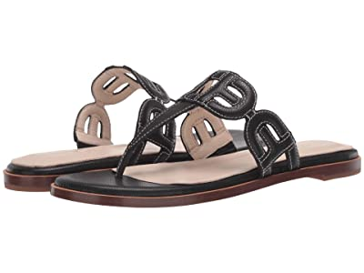Cole Haan Anoushka Sandal (Black Leather/Tonal Heavy Guage Stitch/Black Stack Leather) Women