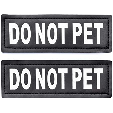 2 Service Dog Do Not Distract Cursive 5x2 Rectangle Velcro Patches