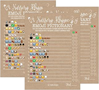25 Rustic Emoji Nursery Rhyme Baby Shower Game Party Ideas For Pictionary Quiz, Boys Girls Kids Men Women and Couples, Cute Classic Bundle Pack Set Gender Neutral Unisex Fun Coed Guessing Card