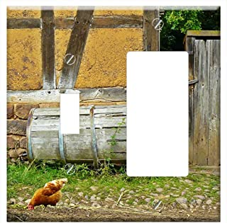 1-Toggle 1-Rocker/GFCI Combination Wall Plate Cover - Chickens Farm Agriculture Poultry Country Lif