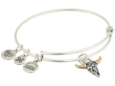 Alex and Ani Spirited Skull Bangle (Rafaelian Silver) Bracelet
