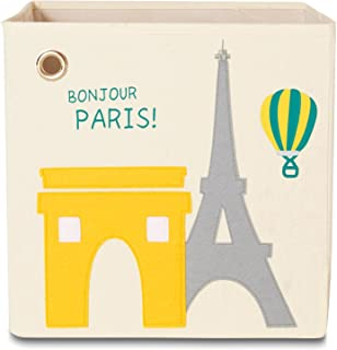 kaikai & ash Toy Storage Bins, Foldable Canvas Cube Box for Kids, 13 inch - Paris