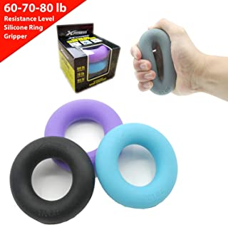 xFitness Hand Strengthener Grip Rings 30-80lb Multiple Levels - Forearm Grip Strength - Quickly Increase Your Hand Strength - Finger Exerciser - Best Hand Exerciser Grip Strengthener