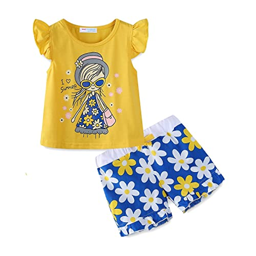 45c4eee6 Mud Kingdom Little Girls Short Sets Summer Holiday Daisy Flower Outfits