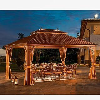 YOLENY 12' X 16' Hardtop Gazebo Galvanized Steel Outdoor Gazebo Canopy Double Vented Roof Pergolas Aluminum Frame with Net...