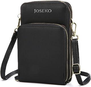 JOSEKO Crossbody Tasche, Damen Handytasche Solide PU Leder Kupplungtasche Kartentasche Frauen Mini Umhängetasche Phone Tas...