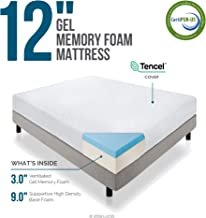 LUCID 12 Inch Gel Infused Memory Foam Mattress - Medium Firm Feel - CertiPUR-US Certified - 10 Year warranty - Twin with LUCID Encasement Mattress Protector - Twin