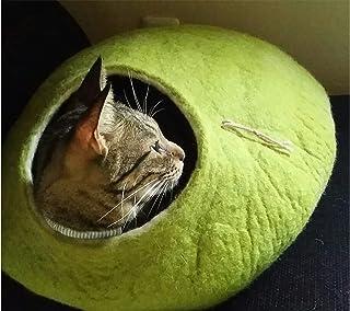 猫ベッド。猫洞穴。ペットハウス。羊毛から手作り。ド サ イズ: L(大)。製 樺の木グリーン色。 Kivikis製。