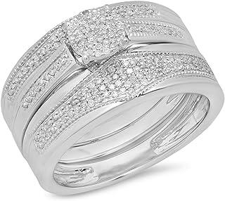 مجموعة دازلنغ روك 0.35 قيراط (Ctw) 10K الماس الأبيض للرجال والنساء مجموعة خواتم الخطوبة الثلاثية من الذهب الأبيض