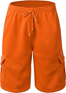 Mens Cargo Sweat Shorts Elastic Drawstring Casual Loose Fit Fleece