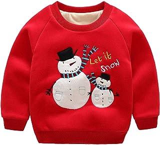d96d5237c9088 HaoTong Sweat Noël Enfant sans Capuche Garçon Pull Poalire Epais à Manche  Longue Col Rond Top