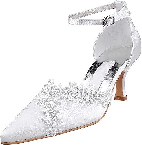 Qiusa MZ595 mujer Pointy Toe Med Heel Buckle Lace Nupcial Wedding Party Evening Pump zapatos (Color   Ivory-6.5cm Heel, tamaño   6.5 UK)