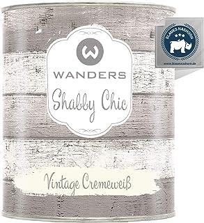 Wanders24 Kreidefarbe 750 ml, Vintage Cremeweiß Holzfarbe für Shabby Chic Look - Möbelfarbe einfach zu verarbeiten - Möbellack auf Wasserbasis - Made in Germany