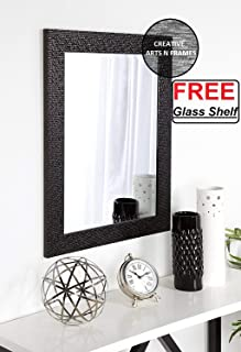 Creative Arts n Frames Fiber Wood Framed Wall Mirror with Free Multi Purpose Glass Shelf/Tray/Rack/Organizer || Mirror with Shelf || Water Resistant || Size - 15x21 inch || (1)
