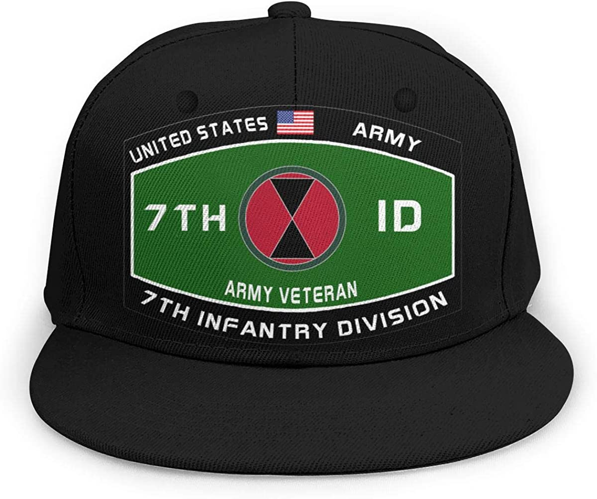 US Army 7th Infantry Division Military MOS Unisex 3D Printing Classic Baseball Cap Snapback Flat Bill Hip Hop Hats