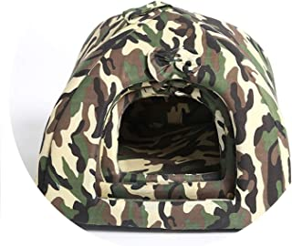 onebanana Removable Camouflage Dog House Winter Warm Pet Cat Bed Kennel Play Tent Machine Washable Nest for Small Dogs