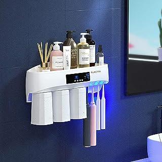 Puretta 歯ブラシ除菌器 紫外線 UV除菌機 二重層デザイン 滅菌消毒 歯ブラシホルダー 取り外し可能な歯磨き粉ディスペンサー ソーラー充電 ワイヤレス壁に取り付大容量浴室の洗面用具収納ラック3カップ入り 日本語説明書付き