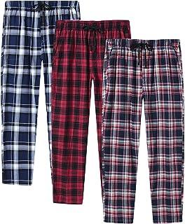 JINSHI Men's Check Woven Pyjama Bottoms Trousers Cotton Fleece Soft Comfy Sleepwear Lounge Pants