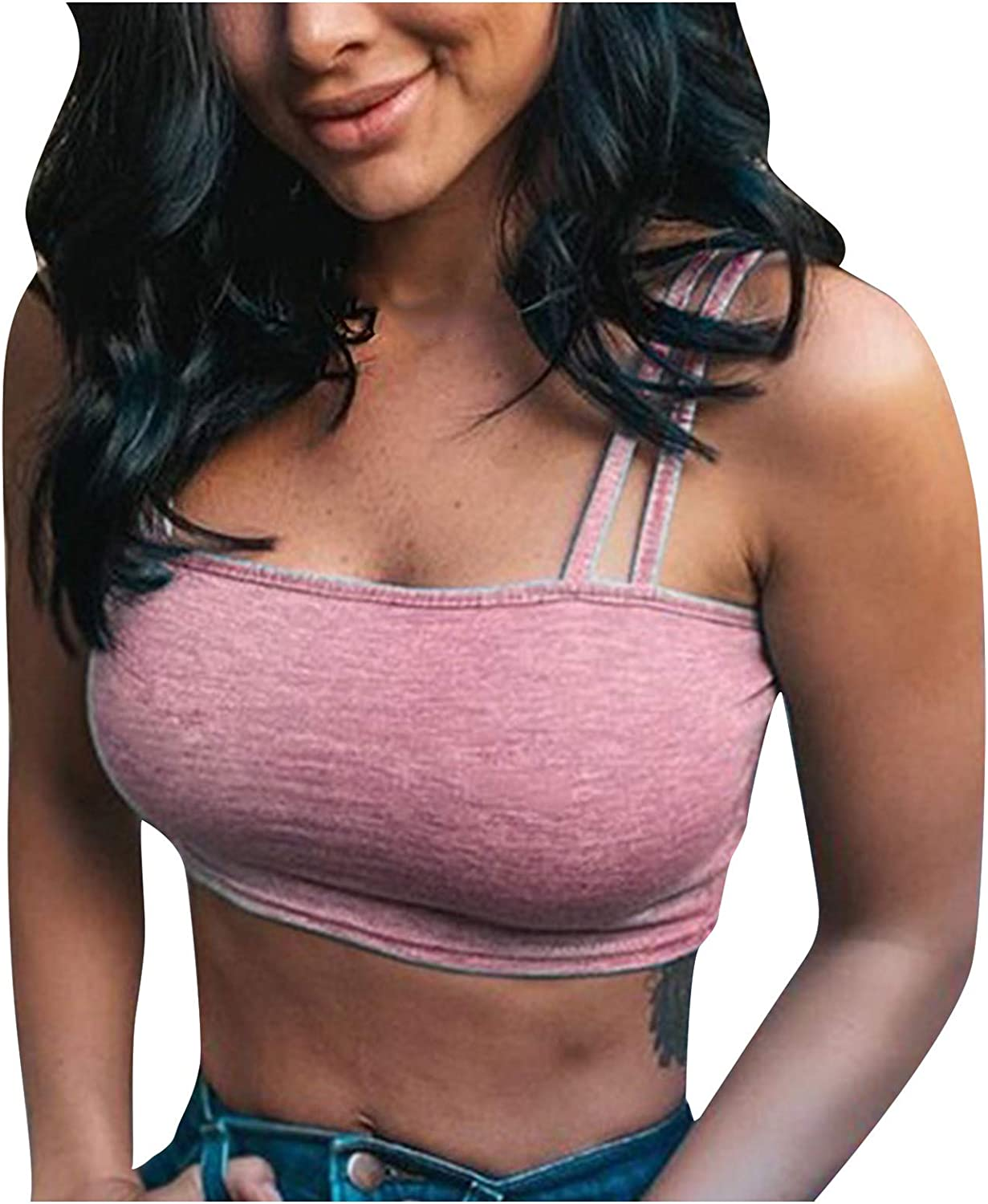 Tank Tops Cami Crop Tops for Women Solid Color Camisole Sport Strappy Bandeau Bra