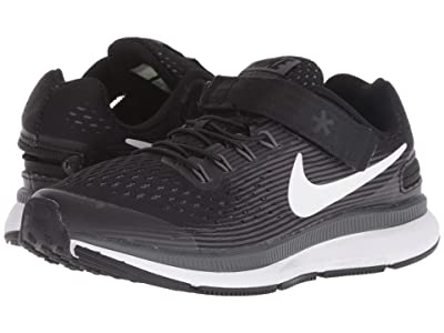 Nike Kids FlyEase Zoom Pegasus 34 (Little Kid/Big Kid) (Black/White/Dark Grey/Anthracite) Boys Shoes