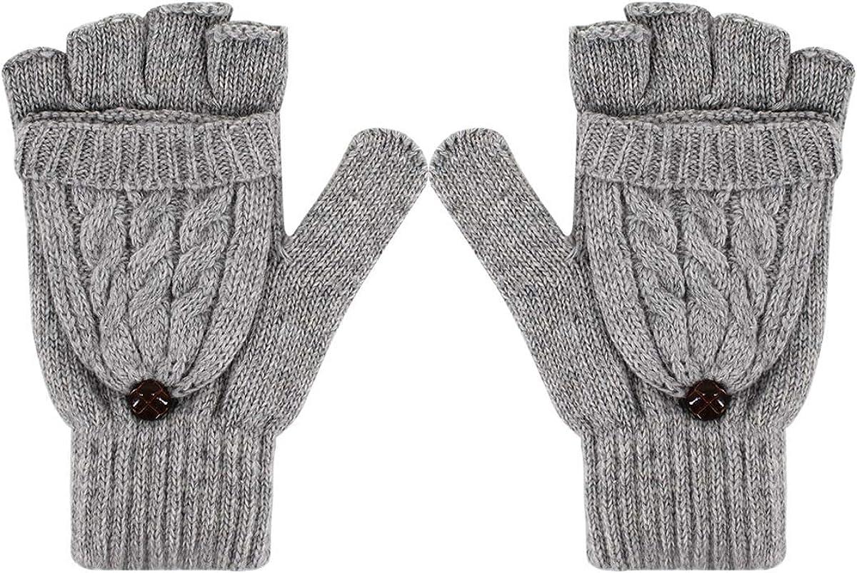 Danse Jupe Women's Winter Gloves Warm Wool Knitted Convertible Fingerless Mittens Gloves with Mitten Cover