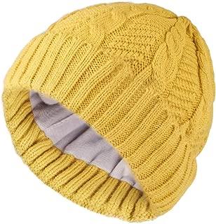 Beanie for Men Women Winter Hat Cable Knit Beanies Mens Fleece Skull Hats Black Caps
