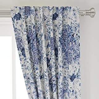 Roostery Curtain Panel, Japanese Floral Vintage Chintz Garden Blue Chinoiserie Style Traditional Print, Basketweave Cotton Canvas, Back Tab/Rod Pocket Curtain Panel, 50in x 108in