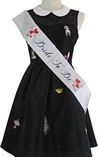 Bachelorette Party Favors Satin Bride to Be Sash Black Cursive - Perfect For Hen and Engagement Parties Bridal Princess Before the Wedding - White Bridal and Red Hearts Shower Supplies and Decorations