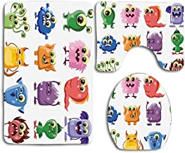 EnmindonglJHO Funny Animated Bacteria Aliens Theme Germ Whimsical Cartoon Monsters with Humor Faces Graphic Artwork Multi 3pcs Set Rugs Skidproof Toilet Seat Cover Bath Mat Lid Cover Cushions Pads